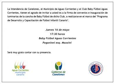 Firma de convenio e inauguración de luminarias de la cancha de Baby Fútbol